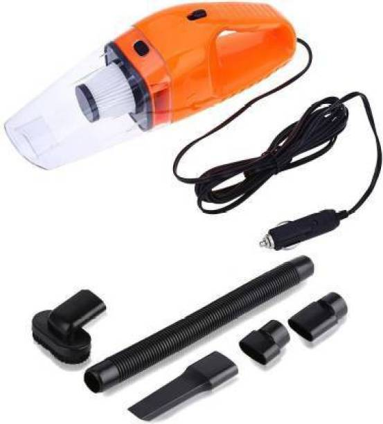 Vozica Portable Handheld 12V High Power 120W Auto Vacuum Cleaner Wet Dry Dual-Use Super Suction With Hepa Filter Car Vacuum Cleaner Home & Car Washer with Reusable Dust Bag (Orange, Black) Car Vacuum Cleaner