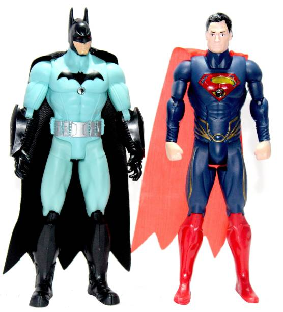 WOW toys Justice Hero Series|| Batman & Superman Realistic Action Figures || Detachable Hands|| Cool Accessories|| LED Light || Pack of 2