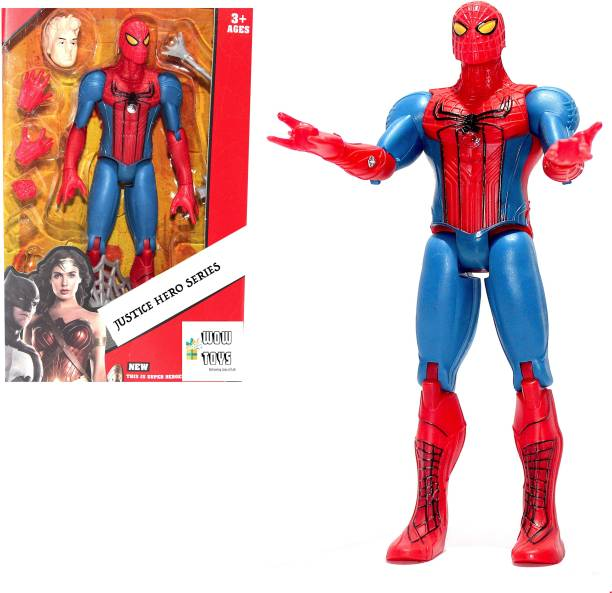 WOW toys Justice Hero Series|| Spiderman Realistic Action Figure Toy|| Detachable Hands|| Various Accessories to play with||LED Light|| 17 cm|| Pack of 1