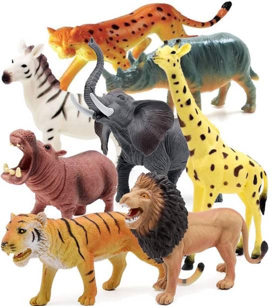 saiyam momento Set of 8 Zoo Wild Animals Figures Toys for Kids , Animal Toy Set Play for Kids