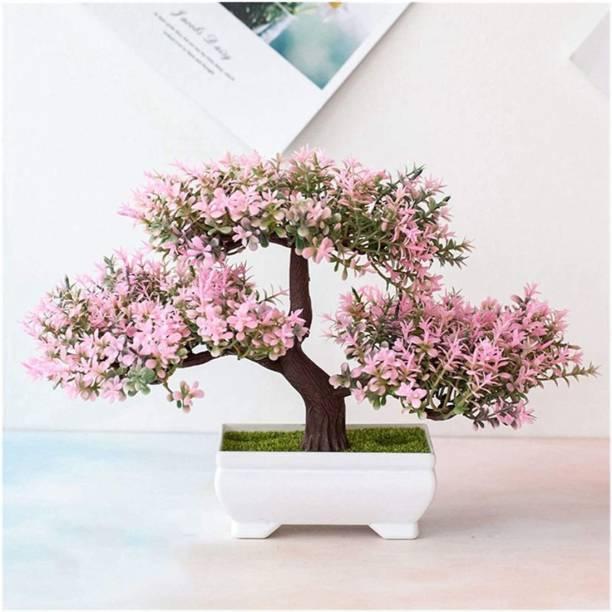 Satyam Kraft Artificial Bonsai Tree with Designer Pot for Home Decoration (Pink, 1 Piece). Bonsai Artificial Plant  with Pot