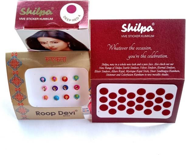 Shilpa Sticker Kumkum - Deep Red Size 4 ( Pack of 5 ) - Dermatologically Tested women Maroon Bindis