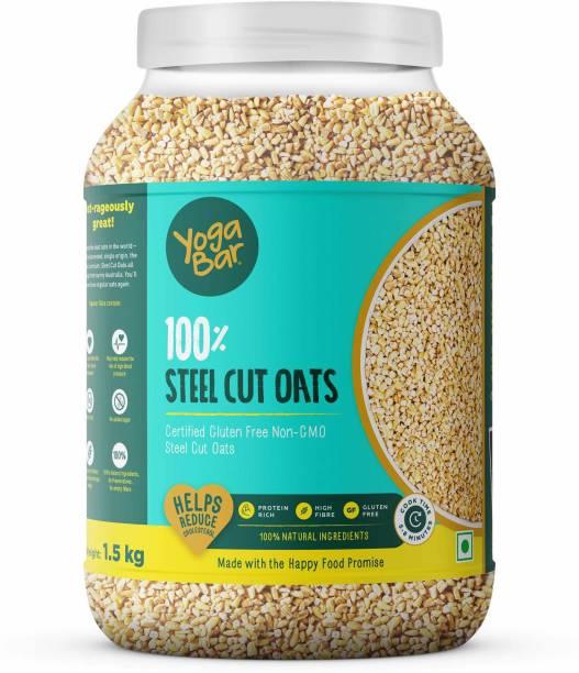 Yogabar Steel Cut Oats 1.5kg | Premium Oats, Gluten Free Oats with High Fibre, 100% Whole Grain, Non GMO, No Added Sugar | - 1.5 kg