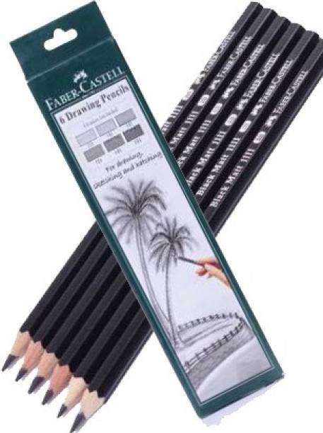 FABER-CASTELL 6 Drawing Pencils 2B, 3B, 4B, 5B, 6B, 8B Pencil Shaped Color Pencils