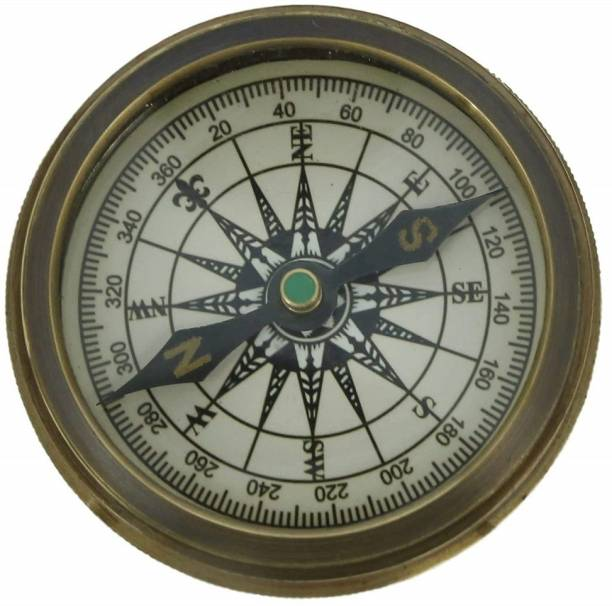 R S ENTERPRISES Vintage Inspired Pocket Brass Compass with Leather Case -2 Inches Compass