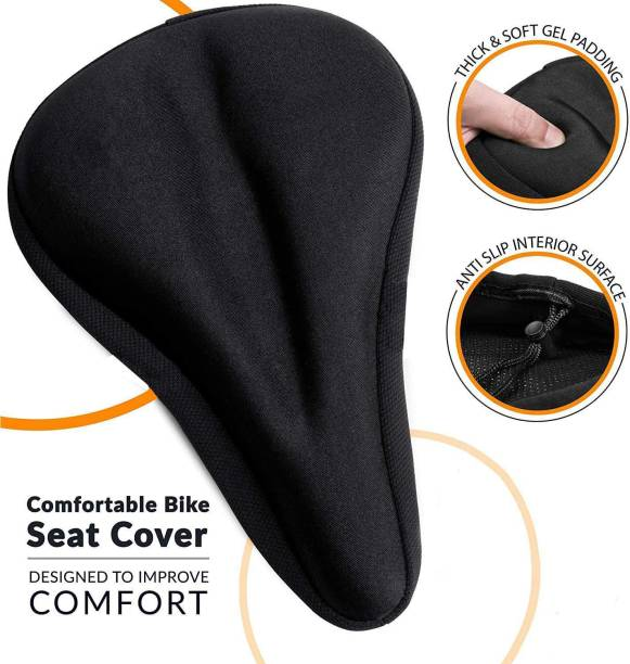 AlexVyan Bicycle Comfortable Silicone Gel Seat Saddle Cove Cushion Soft Gel Silicone Pad Bicycle Seat Cover Free Size