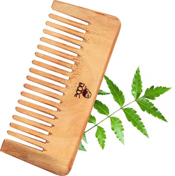 BODE Handmade Neem Wood Broad Tooth Anti-Dandruff Wooden Comb For Men And Women