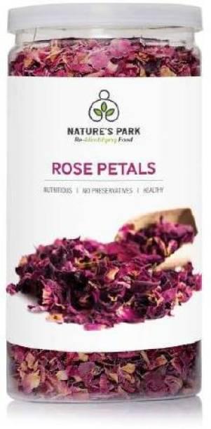 Nature's Park Rose Petals - Sun Dried Gulab Patti (100% Edible) Pet Jar