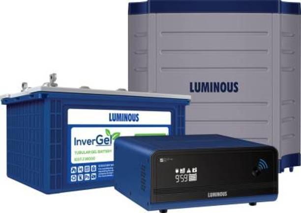 LUMINOUS Zelio +1100 Wifi + InverGel IGSTJ 18000 150 Ah Gel Tubular Battery + Trolley TX100L Tubular Inverter Battery