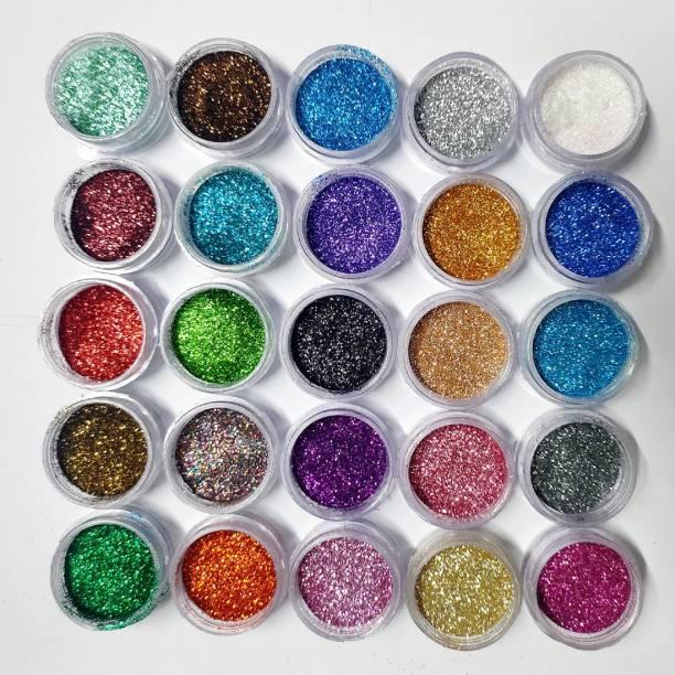 VOZWA 25 Color Nail Art Decoration Nail Glitter Powder