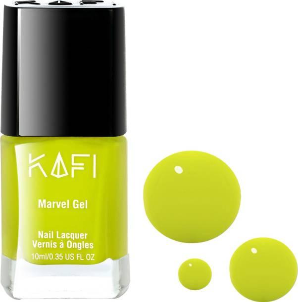 KAFI Gel Effect Nail Polish- Long lasting, Non Toxic, High Shine, Vegan, 10-Free Formula, SalonPro-(Lime Green) Lime Night