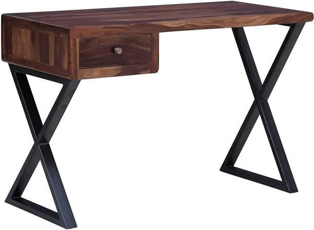 jfwoods Turner Solid Wood Study Table in Metal Frame Metal Study Table