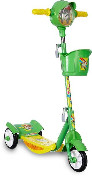 Miss & Chief Noddy Deluxe 3 Wheel Adjustable Height Kids Scooter with Storage Basket , Horn and LED Lights , Weight Capacity 40 kgs (4 to 9 Years) (Green)