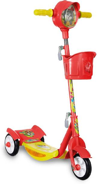 Miss & Chief Noddy Deluxe 3 Wheeld Metal Folding Scooter for Kids, Horn with LED Lights, Basket, Weight Capacity 40 kgs (3 to 8 Years, Red)