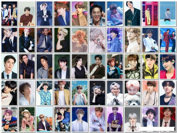 Pack of 50 BTS Band Members Photos   for BTS lovers   HD Quality Photographic Paper Photographic Paper