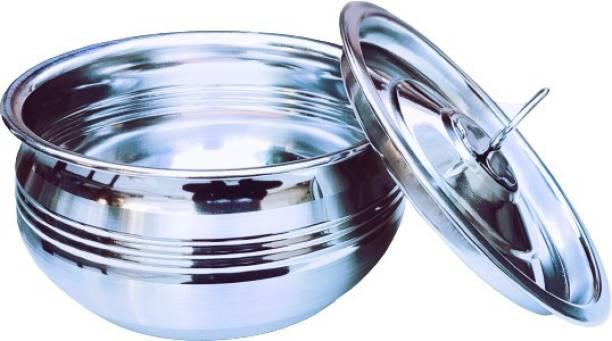 KS Maart Stainless Steel Handi Pot Pan/Steel Handi Handi 0.5 L with Lid