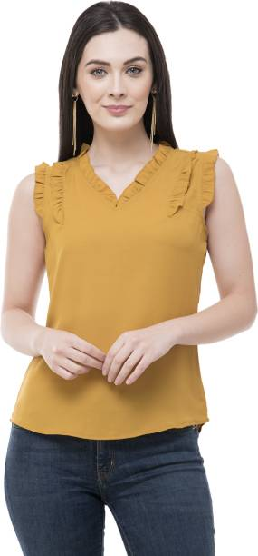 POPWINGS Casual No Sleeve Solid Women Yellow Top