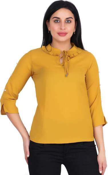 POPWINGS Casual Slit Sleeve Solid Women Yellow Top