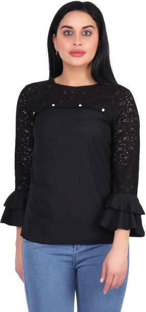 POPWINGS Casual Layered Sleeve Self Design Women Black Top