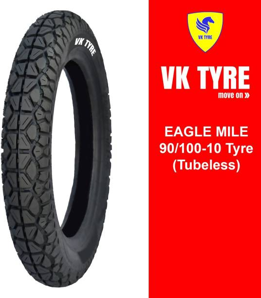 VK TYRE EAGLE MILE TUBELESS 90/100-10 Front & Rear Tyre