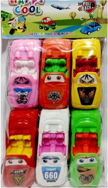 ANANYA CREATIONS Fun Car Set Pull Push Forward/ Backward Toys For Kid's Pack Of 6 Full functions forward /backward/ stop Gift Type Toys For Girl's & Boy (Multi Color)