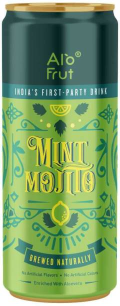 ALOFRUT Mint Mojito 250 ml Pack of 24 | India's First Party Drink | Taste The Natural Fizz | Readymade Mocktails | Enriched With Aloevera | No Artificial Colours | No Artificial Flavors Can