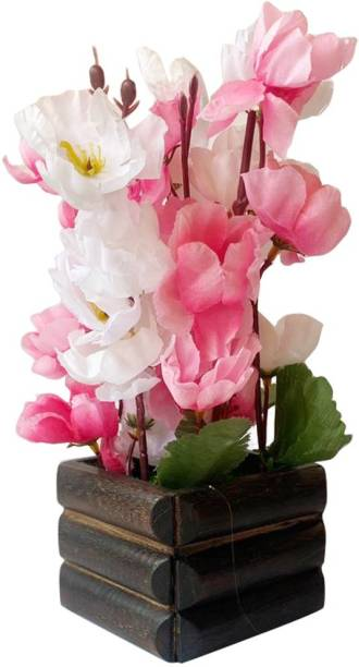 Ryme Artificial Orchid Flower With Pot Pink, White Orchids Artificial Flower  with Pot
