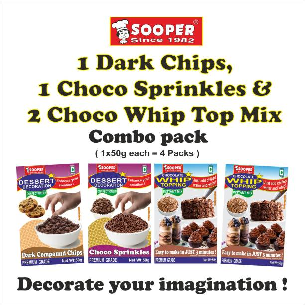 SOOPER DARK CHOCO CHIPS 1x50g, CHOCO SPRINKLES 1x50g, CHOCOLATE WHIP TOP MIX 2x50g COMBO Chips
