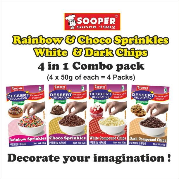 SOOPER DESSERT DECORATION 4 in 1 COMBO#1 50g x 4 PACKS Sprinkles