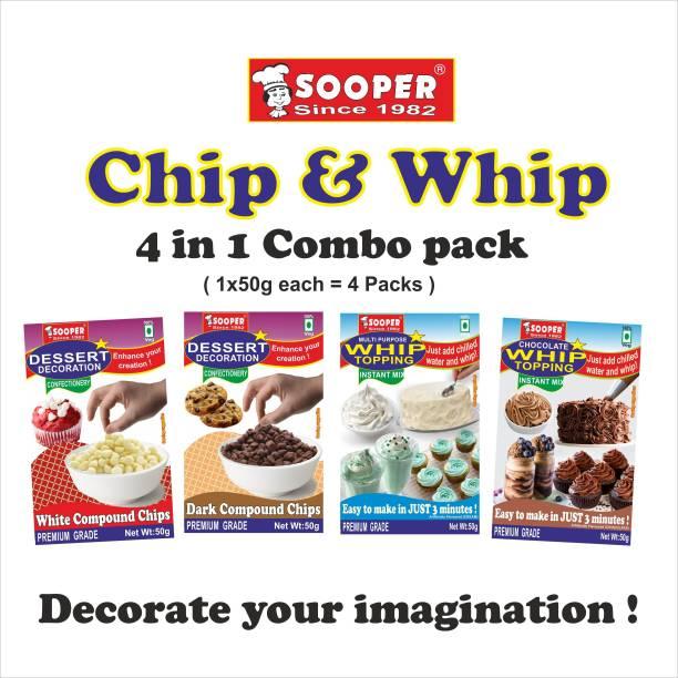 SOOPER WHITE CHOCO CHIPS 50gx1,DARK CHOCO CHIPS 50gx1, VANILLA WHIP TOP MIX 50gx1 & CHOCOLATE WHIP TOP MIX 50gX1 COMBO Choco Chips Solid