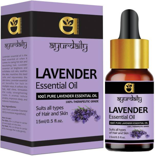 Ayurdaily Lavender Essential Oil 100% Pure, Natural and Undiluted for Hair, Skin and Face