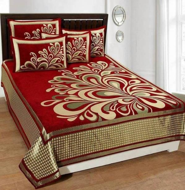 CASA DECOR 300 TC Velvet Double King Self Design Bedsheet