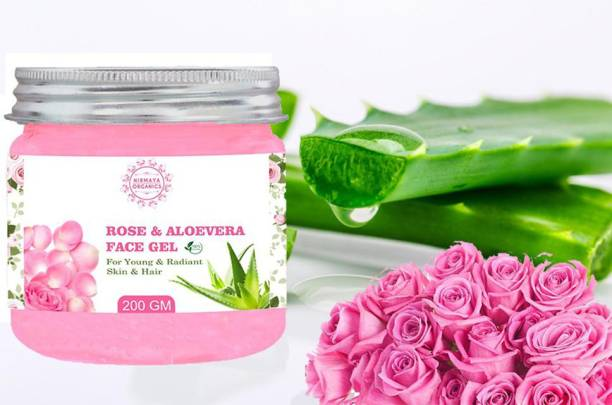 Nirmaya Organics Aloe Vera Gel With Rose Glow Extracts - Rose Petal Extracts For Glowing And Clear Skin - 200gm