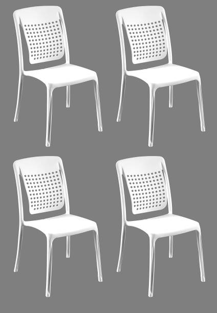 Binani Spine Care Designer Armless Heavy Duty Plastic Chair for Home, Office and Garden (Set of 4, White) Plastic Dining Chair
