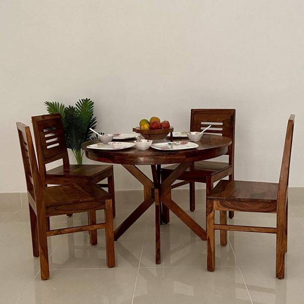 Krishna Wood Decor Dining Table 4 Seater   Round Dining Table with 4 Chairs   Dining Room Furniture   Dining Table 4 Seater   Round Dining Table 4 Seater Wooden   Dining Table Set   Sheesham Wood Brown Solid Wood 4 Seater Dining Set