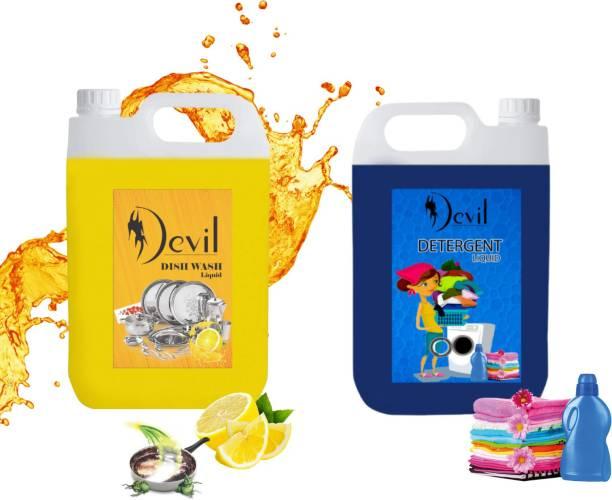 Devil 1 dish wash Liquid Detergent & 1 ltr Liquid Detergent Washing Machine ( combo ) Multi-Fragrance Liquid Detergent Lime Liquid Detergent Dish Cleaning Gel