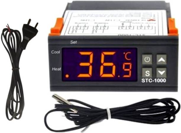 TechSupreme STC-1000 Digital Temperature Controller LED Temp Control Thermostat 110V Heating Cooling Relay NTC Sensor Incubator Multipurpose Controller & 1 2 Pin AC Power Cord (Cable) 2 mtrs Temperature Sensor and Controller Electronic Hobby Kit