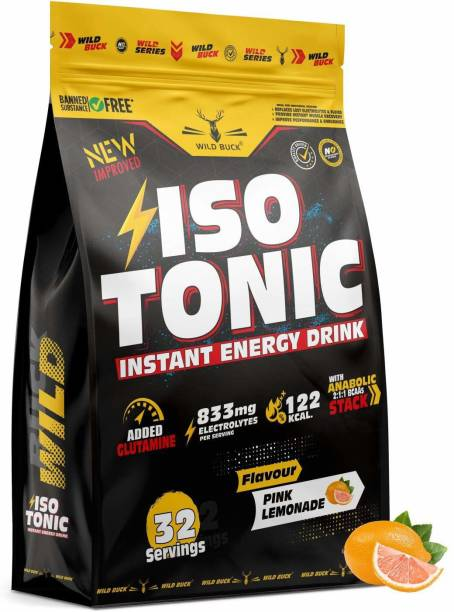 WILD BUCK Isotonic Instant Energy Drink with Glutamine, Electrolytes, BCAA For Fast Recovery Energy Drink