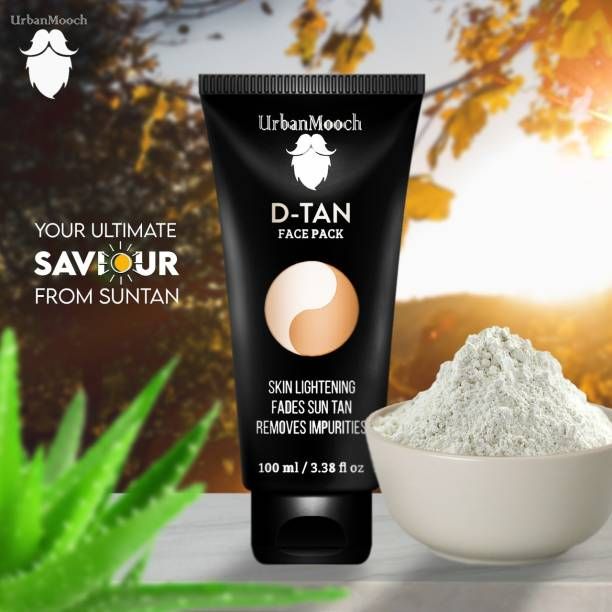 UrbanMooch DeTan Face Pack, Skin Brightening Clay Face Mask For Glowing Skin,Tan Removal, Oil Control, Acne & Fairness, For Men - 100ml