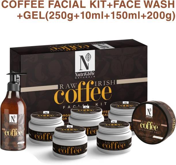 NutriGlow NATURAL'S Raw Irish Coffee Facial Kit (250 gm) + Face Wash (150 ml) + Hydrating Gel (200 gm) / Natural Glowing /Skin Lighting/ Tea Tree With Jojoba Oil/ Deep Pore Cleanser