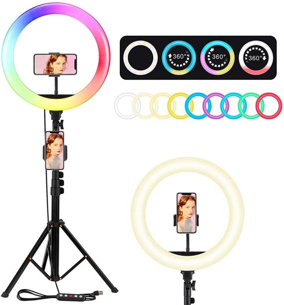Meraki Wonder Ring Light - LED 12 inch RGB Ring Light with Tripod Stand & Phone Holder for Live Streaming & YouTube Video, Dimmable Desk Makeup Ring Light Ring Flash