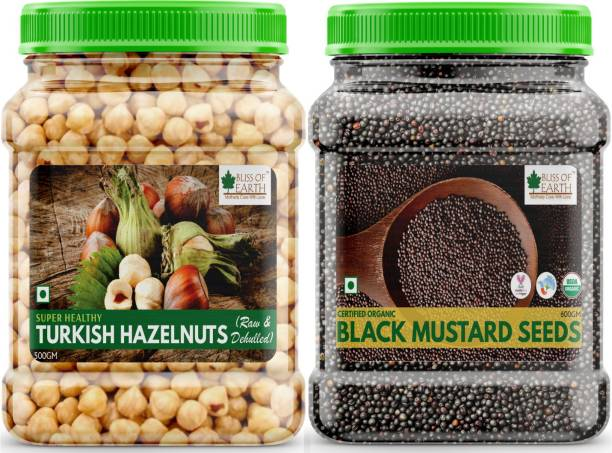 Bliss of Earth Combo Of Turkish Hazelnuts (500gm), Raw & Dehulled, Healthy & Tasty And Organic Black Mustard Seeds (600gm) For Cooking, (Kali Sarson) Pack Of 2 Combo