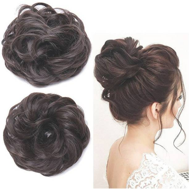 Local Charm Pack Of 2- Synthetic Hair Bun Extension Juda Hair Bun For Women, Ladies and Brides. Washable, Heat resisting Bun