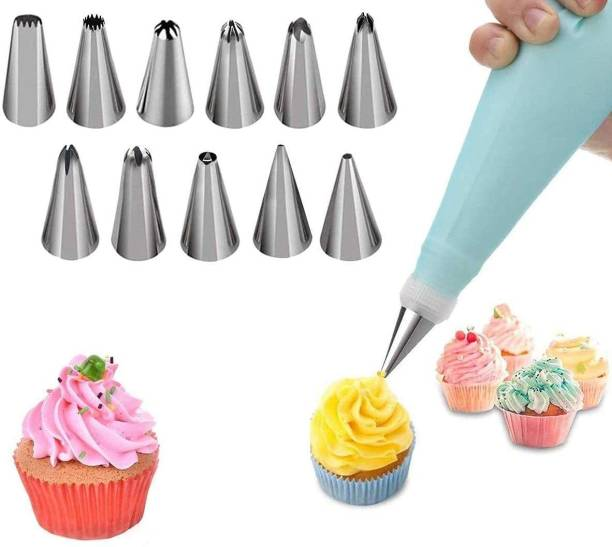Manar 12 Pcs Multi Shape Stainless Steel Nozzles With Icing Piping Bag Cake Decoration Icing Set