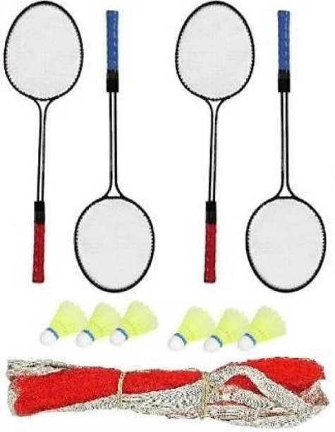 rk son Play Double Shaft Single Colour Set Of 4 Piece Badminton Racket With 6 Piece Plastic Shuttles And 1 Piece Badminton Net Badminton Kit Badminton Kit