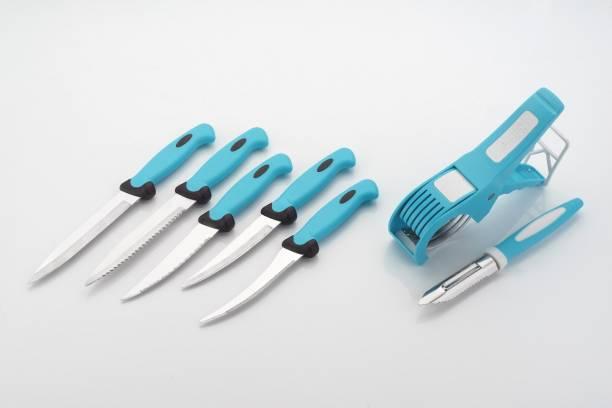 LOOZITO Kitchen Combo-011- 7 -Pcs Blue Combo of 5 Knife, 1 Veg Cutter And 1 Peeler Blue Kitchen Tool Set