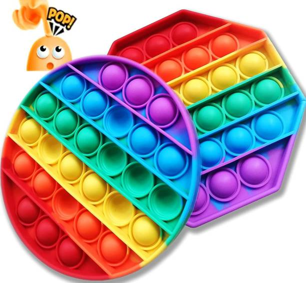 JIALTO Pop It Fidget Toys,Push Pop Bubble Fidget Sensory Toy,Autism Special Needs Silicone Stress Relief Toy,Great Fidget Toy Sensory Toys Novelty Gifts for Girls Boys Kids Adults (Rainbow Round&Hexagon)