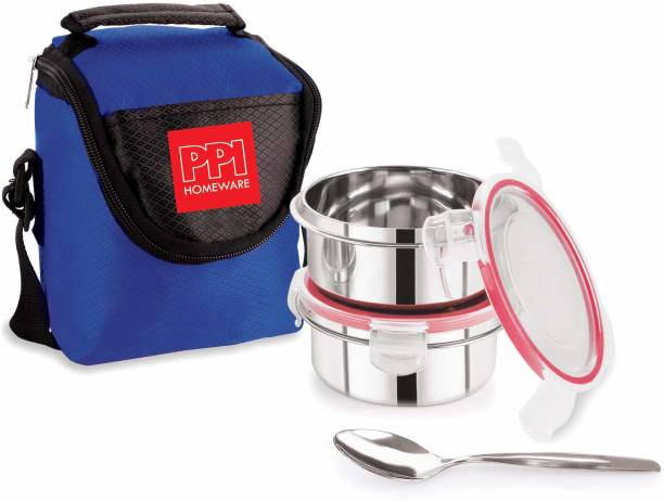 PPI Stainless Steel Soft line leak proof Odorless Lunch box with Cover and 2 Dabba 2 Containers Lunch Box