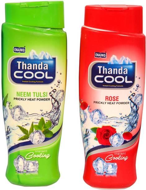 ENAUNIQ Thanda Cool Prickly heat powder 150g ( neem tulsi , rose)