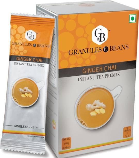 Granules and Beans Ginger Tea Instant Premix (Pack of 3)  Instant Adrak Chai for Immunity & Freshness Ginger Instant Tea Box